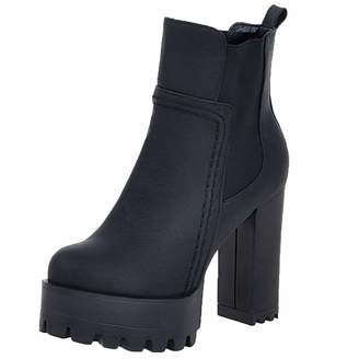 ce1e8a9d53da at Amazon Canada · Vitalo Womens Chunky High Heel Platform Chelsea Ankle  Boots Pull On Booties Size