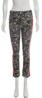 Isabel Marant Floral Print Striped Mid-Rise Skinny Jeans w/ Tags