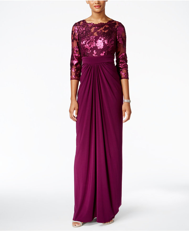 Adrianna Papell Adrianna Pappell Sequin Illusion Draped Gown