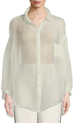 Forte Forte Oversized Silk Organza Button-Front Shirt