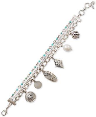 Lucky Brand Silver-Tone Crystal, Bead & Imitation Pearl Celestial Charm Bracelet