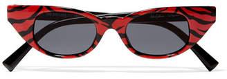 Le Specs Adam Selman The Breaker Cat-eye Printed Acetate Sunglasses - Red