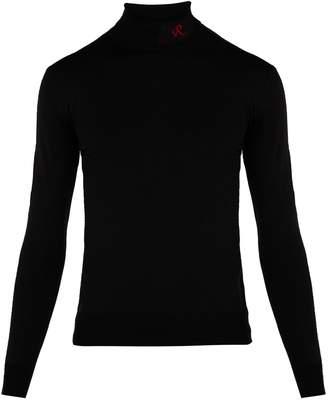 Raf Simons Logo wool-blend roll-neck sweater