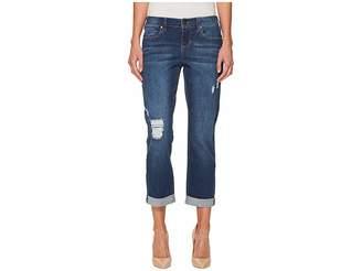 Liverpool Petite Distressed Boyfriend Jeans in Montauk Mid Blue Dest/Indigo