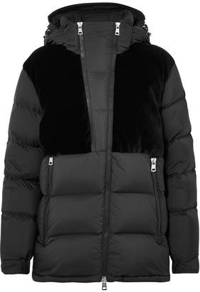 Moncler Hooded Velvet-paneled Quilted Shell Down Jacket - Black