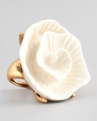 Oscar de la Renta Resin Flower Ring, Ivory