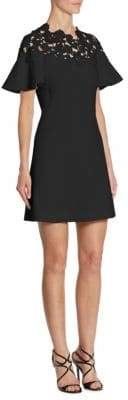 Giambattista Valli Macrame Illusion Floral Fit-&-Flare Cady Bell-Sleeve Dress