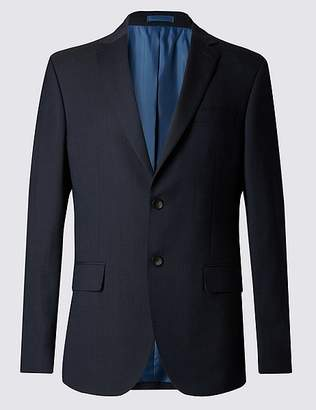Marks and Spencer Navy Striped Regular Fit Jacket