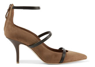 Robyn Leather-trimmed Suede Pumps - Tan