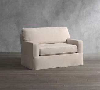 Pottery Barn Cameron Square Arm Slipcovered Twin Sleeper Sofa with Robin Mattress