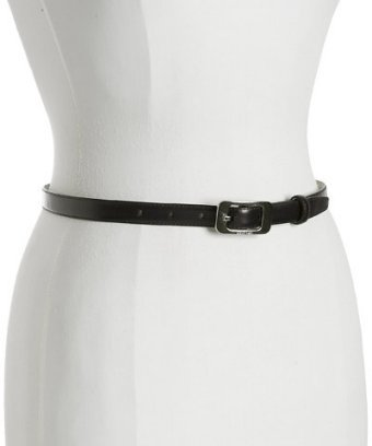 Calvin Klein black leather skinny belt