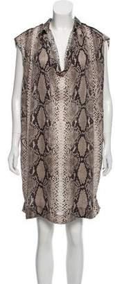 Lanvin Animal Print Silk Dress
