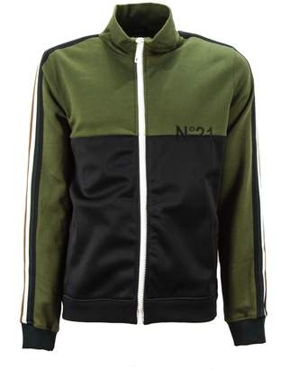 N°21 N.21 Green And Black Cotton Two-tone Design Track Jacket.
