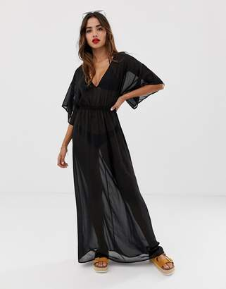 Asos Design DESIGN kimono sleeve tie back chiffon maxi beach dress in black