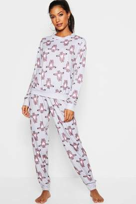boohoo Hugging Bear Lounge PJ Set