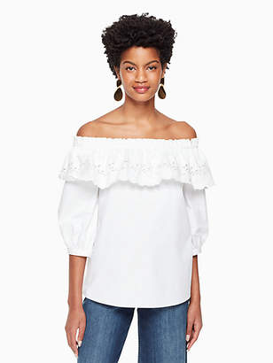 Kate Spade Cutwork off the shoulder top