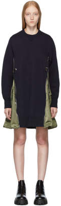 Sacai Navy Spongy Sweatshirt Dress