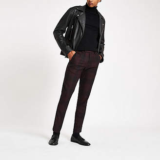 River Island Dark red check skinny smart pants