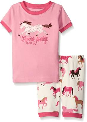 Hatley Little Blue House By Little Girls Short Pajama Set-Hearts and Horses