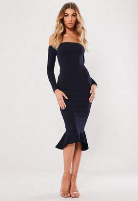 Missguided Bardot Fishtail Hem Dress