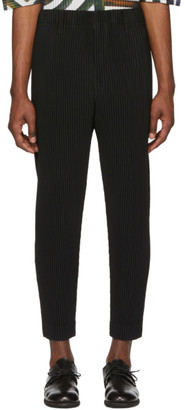 Issey Miyake Homme Plisse Black Tapered Cropped Trousers