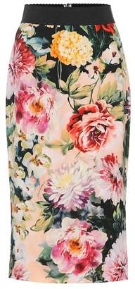 Dolce & Gabbana Printed crepe pencil skirt
