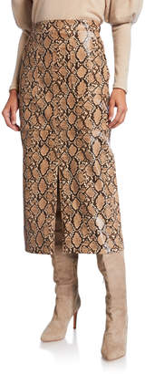 Johanna Ortiz Faux Python Leather Skirt