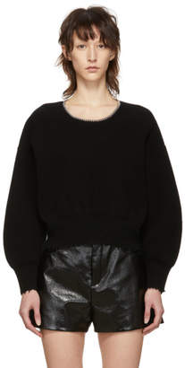Alexander Wang Black Split Back Cropped Crewneck Pullover