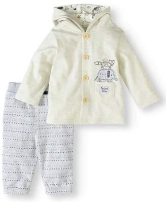 Rene Rofe Baby Newborn Baby Boy or Girl Unisex Hooded Cardigan & Pants, 2pc Outfit Set