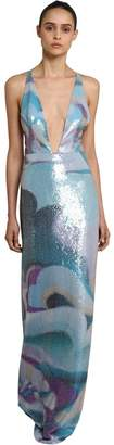 Emilio Pucci Sequined Silk Satin Long Dress
