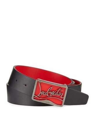 d328ca238 Christian Louboutin Men's Ricky Leather Belt w/ Brass Logo Buckle