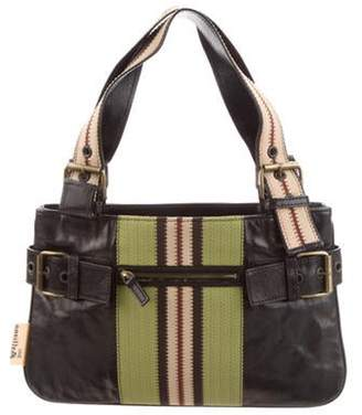 John Galliano Canvas-Trimmed Leather Bag Black Canvas-Trimmed Leather Bag
