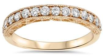 Pompeii3 1/3ct Vintage Scroll Design Diamond Wedding Ring 14k Rose Gold.