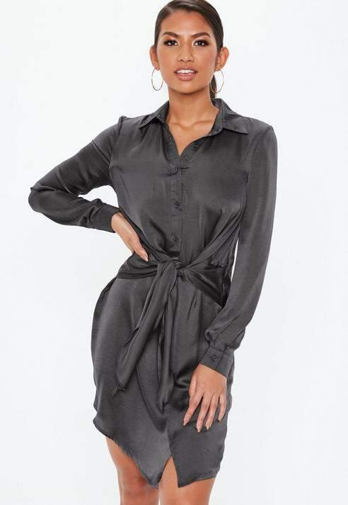 Dark Grey Tie Waist Shirt Dress, Dark Grey