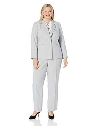 Le Suit Women's Plus Size 1 Button Mini Herringbone Pant Suit