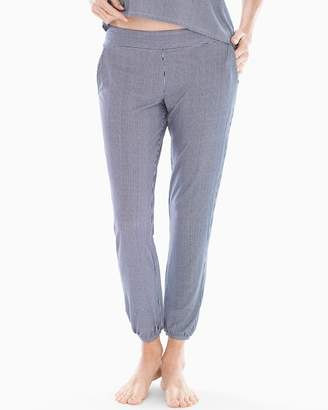 Cool Nights Banded Ankle Pajama Pants Pin Stripe Vertical Navy