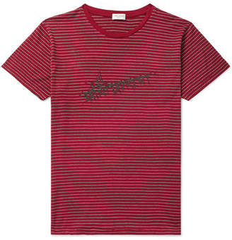 6915fcbb36 Saint Laurent Logo-Print Striped Cotton-Jersey T-Shirt