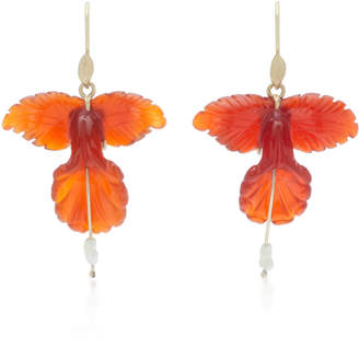 Annette Ferdinandsen 18K Gold Carnelian And Pearl Earrings