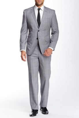 English Laundry Grey Windowpane Two Button Notch Lapel Wool Suit $695 thestylecure.com