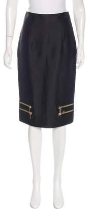Thomas Wylde Zip-Accented Knee-Length Skirt
