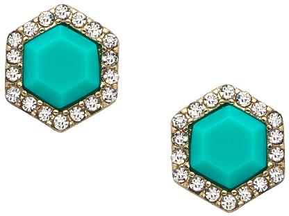 Blu Bijoux Turquoise Hexagon Crystal Stud Earrings