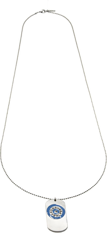 Nine West Runway Relief Large Dog Tag Necklace