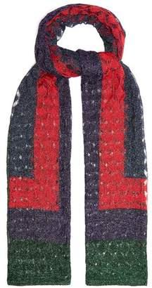 Missoni Geometric Fine Knit Scarf - Womens - Red