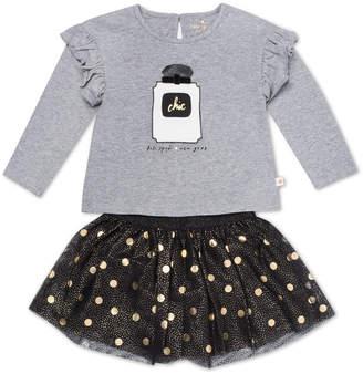 Kate Spade chic ruffle-trim top w/ metallic polka-dot skirt, size 12-24 months