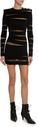 Balmain Mesh Paneled Sheer-Back Dress