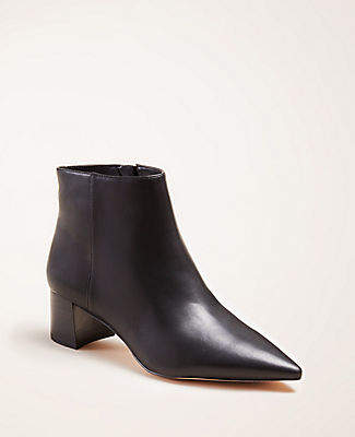 Ann Taylor Kacey Leather Block Heel Booties