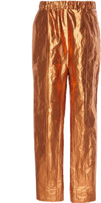 Sally LaPointe Crinkle Foil Seamed Track Pant