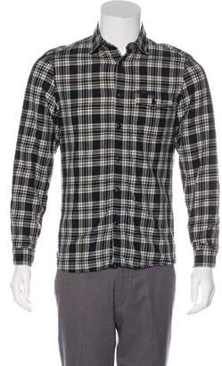 Burberry Plaid Virgin Wool & Linen-Blend Shirt