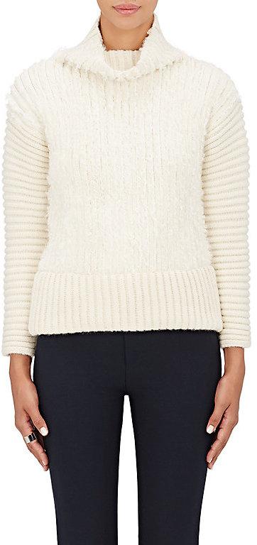 Cédric CharlierCedric Charlier Women's Rib-Knit Alpaca-Wool Turtleneck Sweater-Ivory