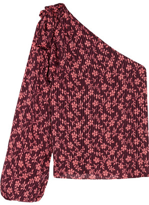 Ulla Johnson - Enid One-shoulder Printed Cotton And Silk-blend Blouse - Burgundy $320 thestylecure.com